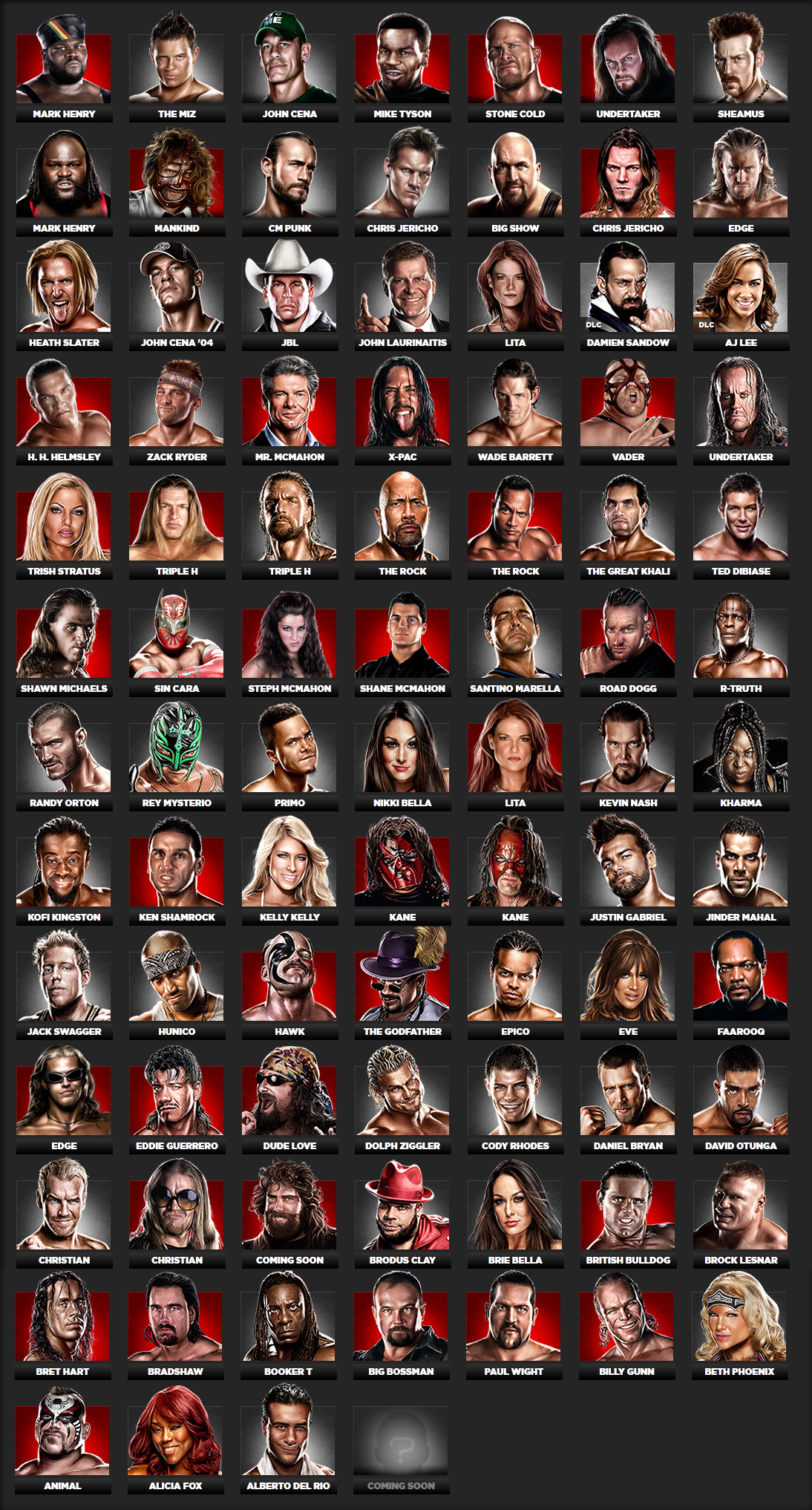wwe 13 roster
